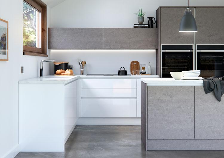 Cosdon Gloss White Amp Industrial Laminate Concrete Handleless Kitchen Fi Kitchens